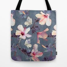 Butterflies and Hibiscus Flowers - a painted pattern Tote Bag Our quality crafted Tote Bags are hand sewn in America using durable, yet lightweight, poly poplin fabric. All seams and stress points are double stitched for durability.  #garden, #Butterflies, #hope, #joy