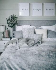 Grey, White, Cozy, Coastal Shiplap Bedroom Decor on Home Inteior Ideas 597 Scandinavian Bedroom Decor, White Bedroom Decor, Room Ideas Bedroom, Cozy Bedroom, Home Decor Bedroom, Bedroom Wall, Master Bedroom, Bed Room, White Decor