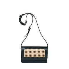 Crossbody bag from italian calf leather in medium size.For day or for the evening, this style is designed to fit all your essentials. Viennese netting in beige framed with black leather. Long adj. Calf Leather, Black Leather, Small Leather Goods, Luxury Handbags, Vienna, Calves, Shoulder Strap, Crossbody Bag, Beige
