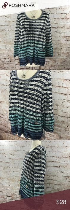 JM Collection- Ombré Crochet Style Sweater Cute crochet style sweater. Ombré design in shades of blue. Three-quarter length sleeves. Small button pocket on front. Hi-low hem. Open to all reasonable offers. JM Collection Sweaters Crew & Scoop Necks