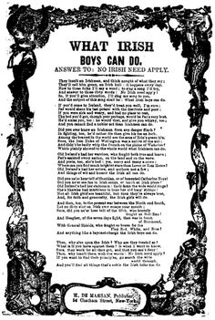 """What Irish Boys Can Do: A response to the policy of """"NO IRISH NEED APPLY"""""""