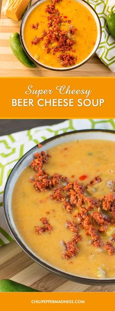 Super Cheesy Beer Cheese Soup with Chorizo – This decadent beer-cheese soup is extra cheesy and flavored with peppers and Cajun seasonings, then topped with crumbled chorizo for explosive flavor. Here is the recipe.