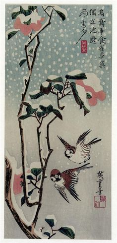Sparrows and Camellias in the Snow Artist: Hiroshige Start Date: 1830 Completion Date:1838 Style: Ukiyo-e Series: Letter Sheet Set Genre: bird-and-flower painting