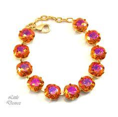 Gold Bracelet Crystal Bracelet Orange Pink Jewelry Swarovski