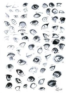 Anatomy Drawing Tutorial Various Eyes Reference Sheet Unfortunately, I no longer have the artist credit information for this one. Furry Drawing, Manga Drawing, Anatomy Drawing, Eye Anatomy, Manga Eyes, Anime Eyes, Draw Eyes, Art Reference Poses, Drawing Reference