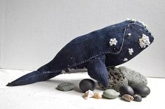 I have a grey whale made by this same artist and it's my favorite Etsy purchase ever. This one is beautiful too, I love all  her work.   northern right whale, fog and swell