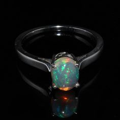 Natural Ethiopian Welo Fire Opal Ring - Opal Oval Cabochon Ring - Handmade Ring Jewelry - 925 Sterling Silver