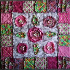 Elephant frolics amongst the flowers quilt.  Pattern available see Wehago designs on Facebook Raw Edge Applique, Rag Quilt, Quilt Patterns, Stitches, Elephant, Quilting, Blanket, Facebook, Denim
