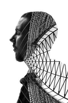 Francesco réalise de saisissants portraits en fusionnant des visages à l'architecture milanaise
