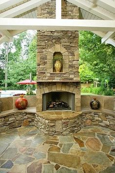 Outdoor spaces: Like the stone used on fireplace.