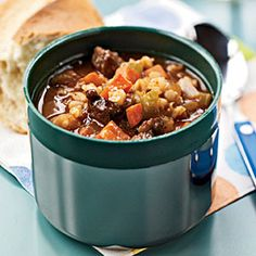 Barley and Beef soup - Make this soup the night before to allow time for its flavors to develop. Pour hot servings into a thermos to take for lunch, or reheat individual portions in the microwave as needed. Serve the soup with crusty bread, crackers, or Spicy Whole-Wheat Pita Chips.