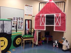 Below are the free choice centers that have been set up in the classroom to be used throughout the month, which go with our farm theme. Dramatic Play Center- Barn set up with tool benches inside. A...
