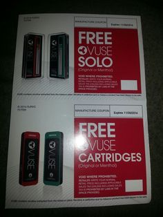 ☆☆FREE☆☆ VUSE SOLO E-CIG COUPONS PLUS COUPON GOT FREE CARTRIDGES