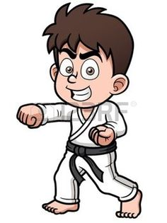sport cartoon: Vector illustration of Boy Karate Player Illustration Cartoon Cartoon, Cartoon Images, Tae Kwon Do, Kung Fu, Cute Characters, Disney Characters, Fictional Characters, Karate Boy, Kids Soccer