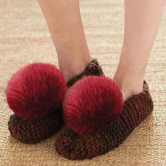 Yarnspirations.com - Bernat Basic Chunky Slippers - Patterns  | knit | beginner | free pattern