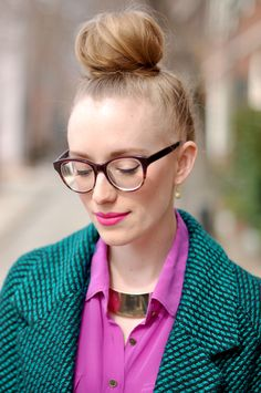 Top Knot // http://wp.me/p1q59G-1bD and cool glasses