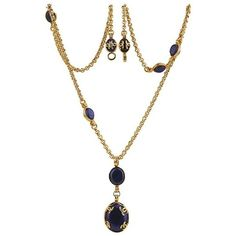 """Preowned Chanel Gold Plated Blue Oval Gripoix """"cc"""" Pendant Long... (26.759.685 IDR) ❤ liked on Polyvore featuring jewelry, necklaces, blue, pendant necklaces, chain pendants, blue pendant necklace, vintage pendant necklace and vintage blue necklace"""