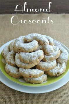 Almond Crescents are crazy good traditional cookies. Finely ground almonds and old fashioned rolled oats make them very special.  #dessert #veganfood #veganrecipes #cookies #vegan #dairyfree #veganinthefreezer via @VeganFreezer