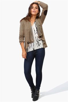 Open Toggle Cardigan in Taupe