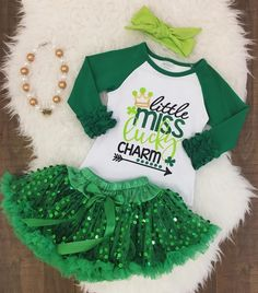 A personal favorite from my Etsy shop https://www.etsy.com/listing/494027960/little-miss-lucky-charm-green-sequin