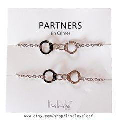 Handcuff And Star Bracelets Partner In Crime Bracelet Silver Initial Star Bracelet Sterling Silver Friendship Bracelet Two Bracelet