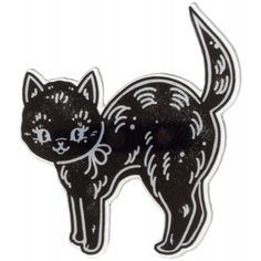 CREEP HEART BLACK CAT MINI PIN