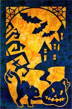 Halloween 2 Fabric Applique Pacific Rim Quilt Pattern for sale online Halloween Quilt Patterns, Halloween Applique, Halloween Sewing, Halloween Quilts, Halloween Projects, Halloween 2, Hawaiian Quilt Patterns, Applique Quilt Patterns, Hawaiian Quilts