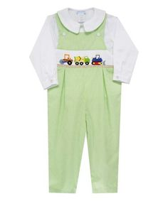 Love this Light Green Trucks Smocked Overalls & Top - Infant & Toddler on #zulily! #zulilyfinds