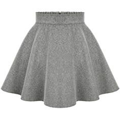 Choies Light Gray Back Zipper Mini Skater Skirt (33 AUD) ❤ liked on Polyvore