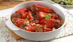 Papriky s pohánkovou plnkou a zašitými troma druhmi syra
