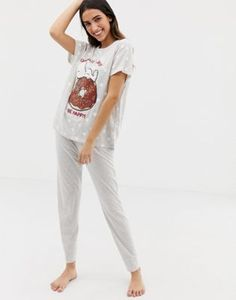 Women secret Snoopy Save The World long pyjama set in gray  6d94527cb