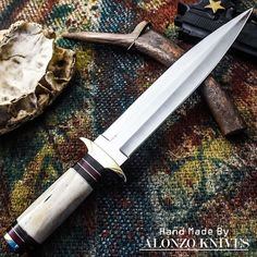 ALONZO KNIVES USA CUSTOM HANDMADE TACTICAL COMBAT DAGGER1095 KNIFE CAMEL BON1330 #AlonzoKnives