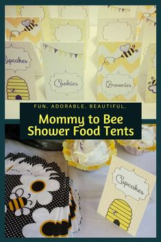 Mommy to Bee Baby Shower or What will you Bee gender reveal food tents to add that special touch to your event!!  They are so cute!  Baby Shower, Gender Reveal, Food Tents, Decor, Bumblebee #affiliate #Etsy