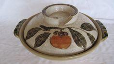Vintage Japan Studio Pottery Persimmon Soup Tureen Handmade Ceramic