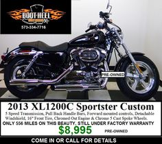 2013 XL1200C Sportster Custom pre-owned and barely broken in. It's a steal $8,995 call or come in to get it! Used Harley Davidson, Harley Davidson Bikes, 5 Speed Transmission, Custom Sportster, Motorcycle, Harley Davidson Motorcycles, Motorcycles, Motorbikes, Choppers