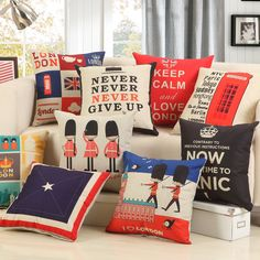 High Quality Cotton Linen Pillow Case UK British Solider Cushions Cover Never Give Up Print Bed Home Chair Pillow British Home, British Style, Linen Pillows, Cushions, Throw Pillow Cases, Throw Pillows, London Living Room, Office Sofa, Chair Pillow