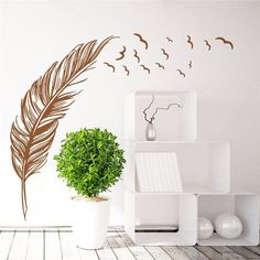 Flying feather wall sticker home decor adesivo de parede home decoration wallpaper wall sticker Living room decor Wall Stickers Birds, Large Wall Stickers, Removable Wall Stickers, Wall Stickers Home Decor, Wall Decal Sticker, Wall Vinyl, Vinyl Decals, Vinyl Art, Pvc Vinyl
