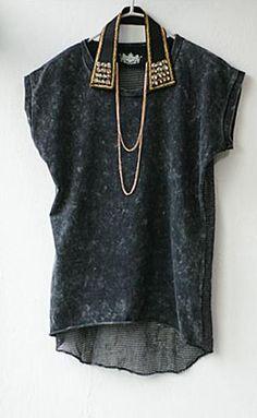 Black Vintage Round Neck Transparent Short Sleeve Tshirt