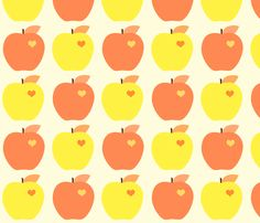 Day 132 - Yellow and Orange Apples fabric by anikabee on Spoonflower - custom fabric