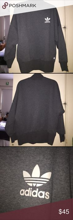 ADIDAS TREFOIL MOCK NECK SWEATSHIRT Grey Adidas mock neck sweatshirt with white logo from Pacsun. Size small but is meant to be oversized. Could fit S/M/L. Never worn. NO TRADES. Adidas Tops Sweatshirts & Hoodies