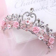 Pink Flower Crystal Bridal Formal Wedding Crown Tiara Headband Hair Accessories in Clothing, Shoes & Accessories, Wedding & Formal Occasion, Bridal Accessories, Tiaras & Headbands Princess Aesthetic, Pink Aesthetic, Crown Aesthetic, Cute Jewelry, Hair Jewelry, Jewellery, Girls Jewelry, Jewelry Rings, Silver Jewelry