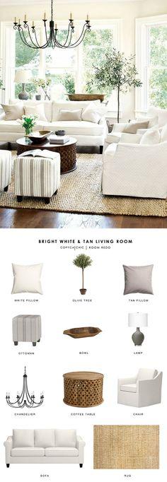Copy Cat Chic Room Redo | Bright White and Tan Living Room | Copy Cat Chic | Bloglovin'