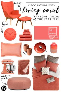 Living Coral Pantone Color of the Year 2019 – Pantone Color Trends - Coral Interior Design Ideas Coral Home Decor, Diy Home Decor, Coral Design, Diy Design, Design Ideas, Inspiration Design, Home Decor Inspiration, Coral Colour Palette, Coral Color Decor