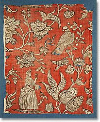 Block-printed, madder-dyed cotton<br>Alsace(?), France, 1690-1710