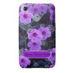 Purple Floral iPhone 3 Cases