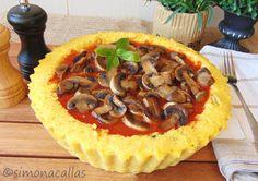 Polenta Tart with Mushrooms. Polenta Tart with Mushrooms and Tomato Sauce Romanian Food, Polenta, Tomato Sauce, Pie Recipes, Vegetable Pizza, Vegetarian Recipes, Stuffed Mushrooms, Food And Drink, Yummy Food