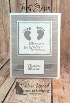 Learn how to make this card using this First Steps stamp set and more! naissance part naissance bebe faire part felicitation baby boy clothes girl tips Baby Shower Card Sayings, Baby Shower Cards, Baby Cards, Baby Birthday Card, Handmade Birthday Cards, Hand Stamped Cards, Graduation Cards, Baby Kind, Card Kit