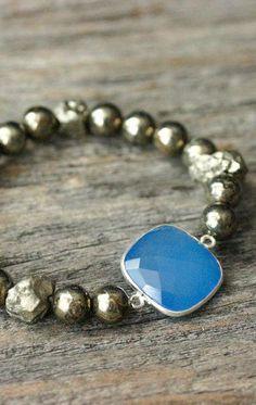 Gold Pyrite Statement Bracelet Blue Chalcedony