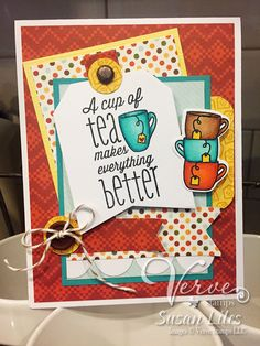 Hand stamped card by Susan Liles using the One Cup stamp set from Verve. #vervestamps
