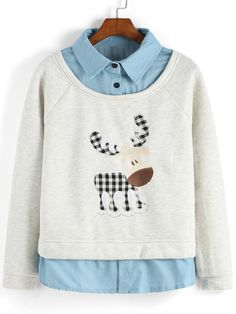 Contrast Collar Cow Embroidered Sweatshirt 16.67